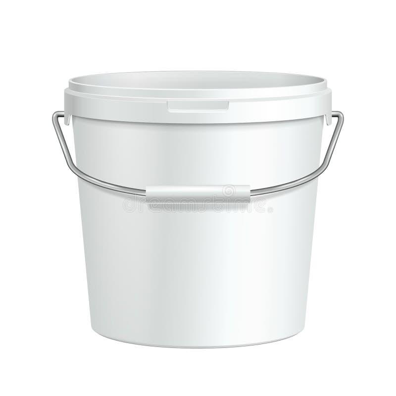 Öppnad högväxt vit badar den plast- hinkbehållaren för målarfärg med metallhandtaget Murbruk spackel, färgpulver Ordna till för d royaltyfri illustrationer