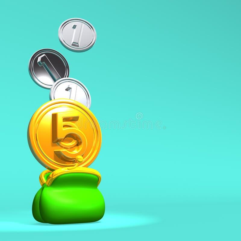 Öppnad handväska med 5+3 mynt på blått textutrymme stock illustrationer