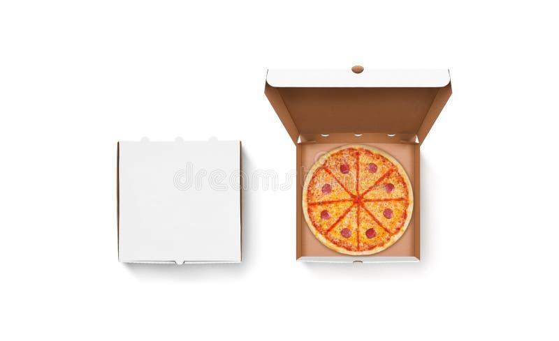 Öppnad och stängd för pizzaaskmodell uppsättning för tom vit royaltyfria bilder