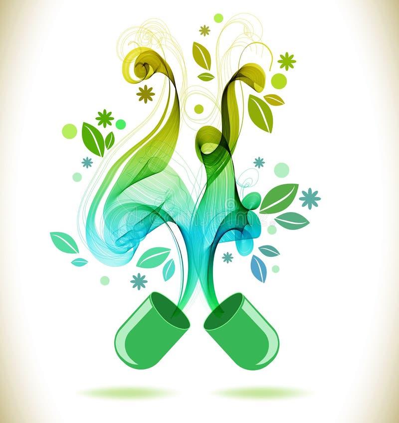 Öppnad preventivpiller för grön färg med den abstrakta vågen vektor illustrationer