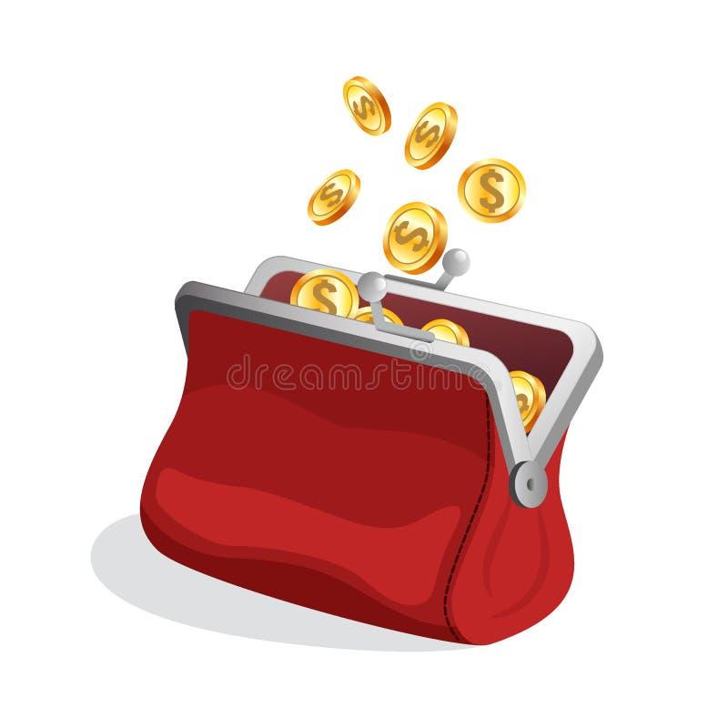 Öppnad röd handväskasymbol med ljusa guld- mynt inom stock illustrationer