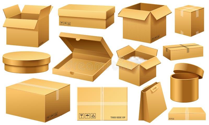 Öppnad realistisk tom kartong Brun leverans Paketera packen med det bräckliga tecknet på genomskinlig vit bakgrund stock illustrationer