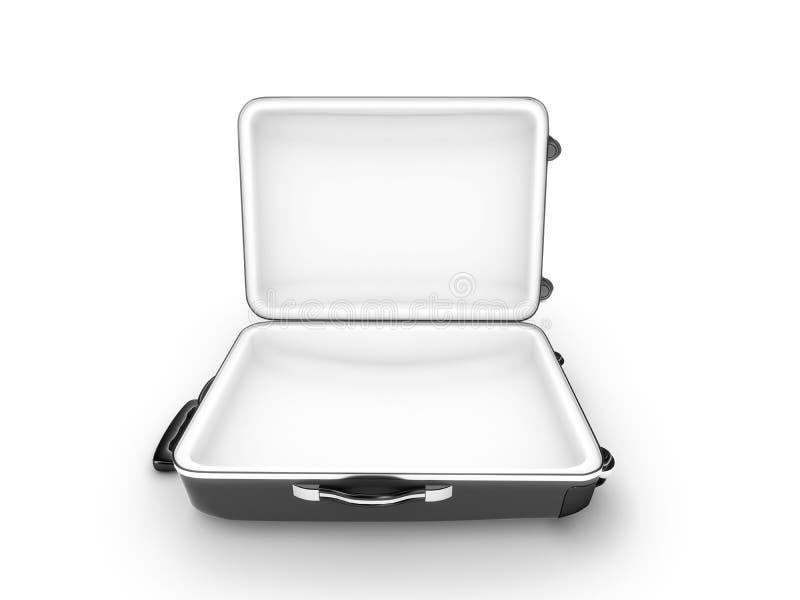 Öppnad resväska på vit bakgrund stock illustrationer