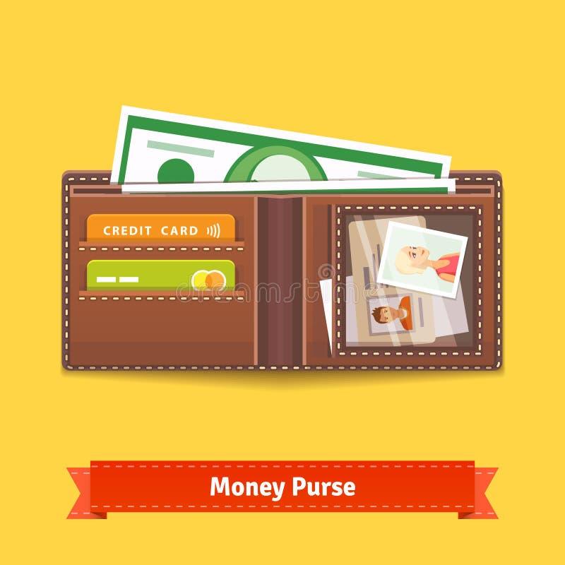 Öppnad symbol för plånboklägenhetstil vektor illustrationer