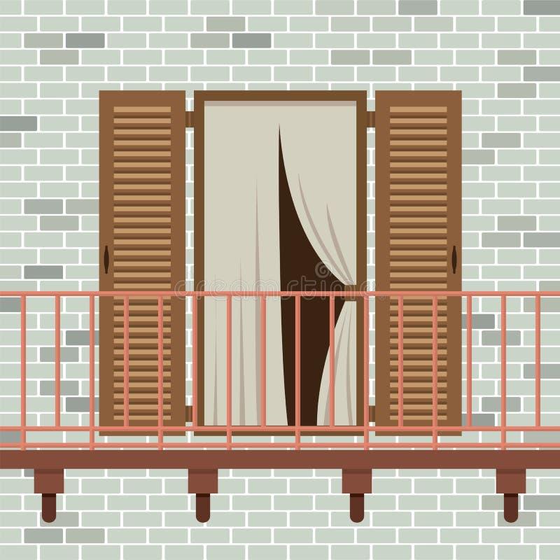Öppnad trädörr med balkongen vektor illustrationer