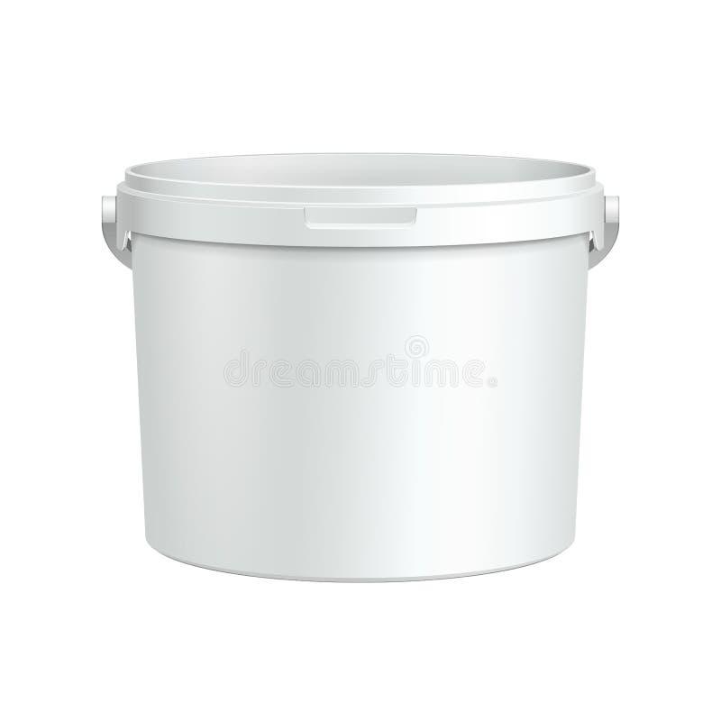 Öppnad vit badar den plast- hinkbehållaren för målarfärg royaltyfri illustrationer