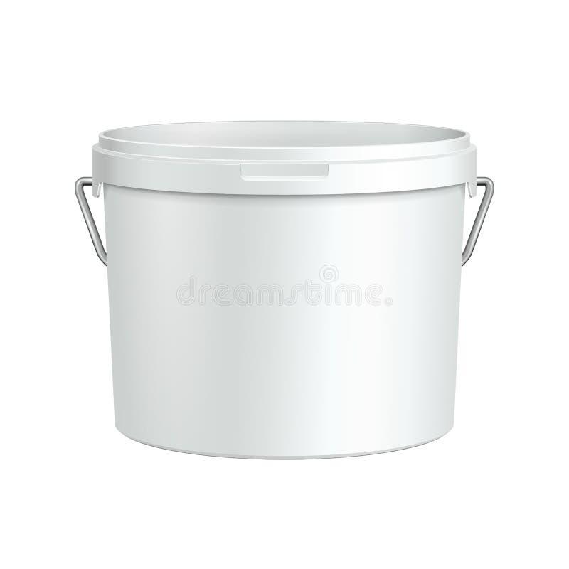 Öppnad vit badar den plast- hinkbehållaren för målarfärg med metallhandtaget royaltyfri illustrationer