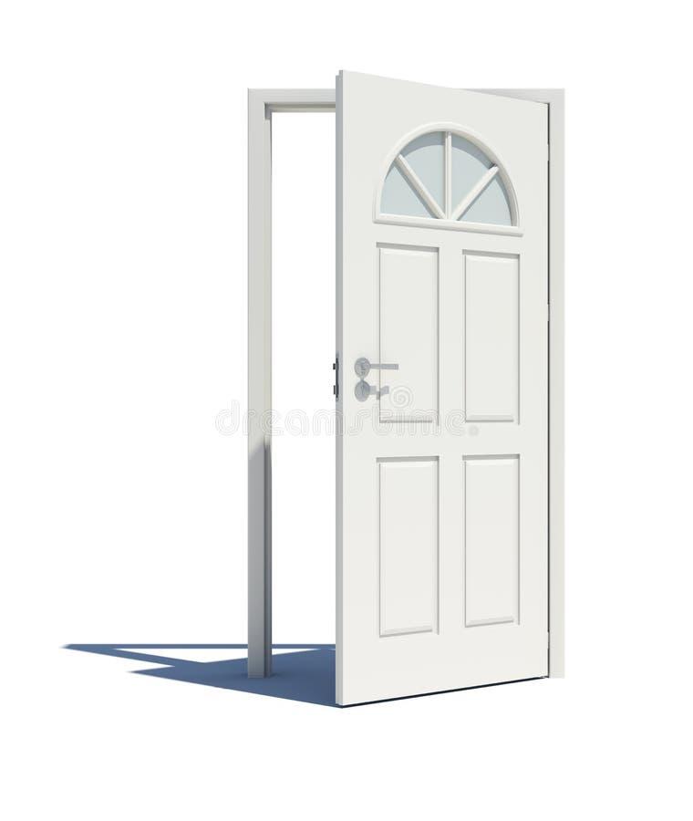 Öppnad vit dörr med skugga royaltyfri illustrationer