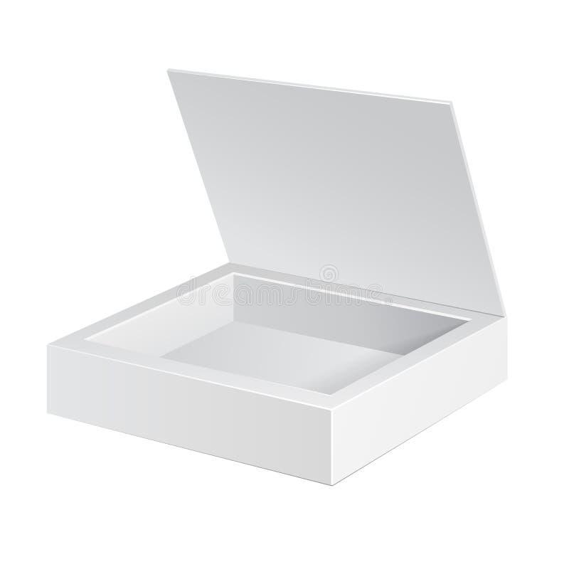 Öppnad vit papppackeask Gåvagodis På vitbakgrund Ordna till för din design illustration 3d, på vitbakgrund royaltyfri illustrationer