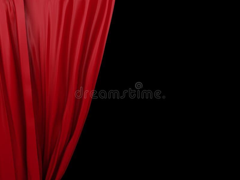 Öppnande röd gardin på svart bakgrund royaltyfri illustrationer