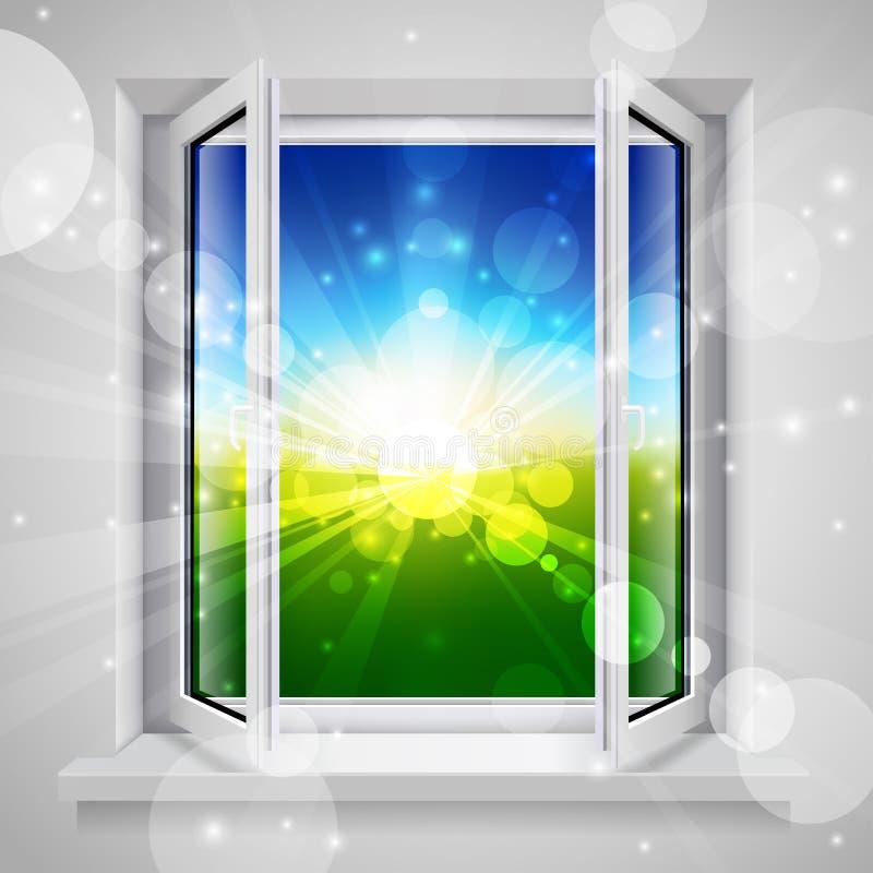 öppnat fönster royaltyfri illustrationer