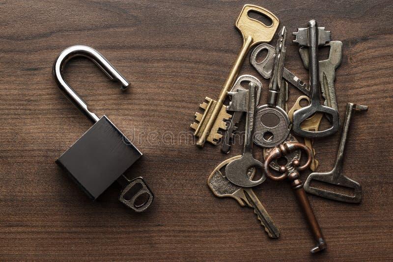 Öppnat kontroll-lås och olikt tangentbegrepp royaltyfria bilder