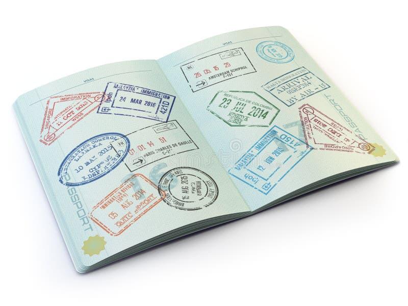 Öppnat pass med visumstämplar på sidorna som isoleras på vit stock illustrationer