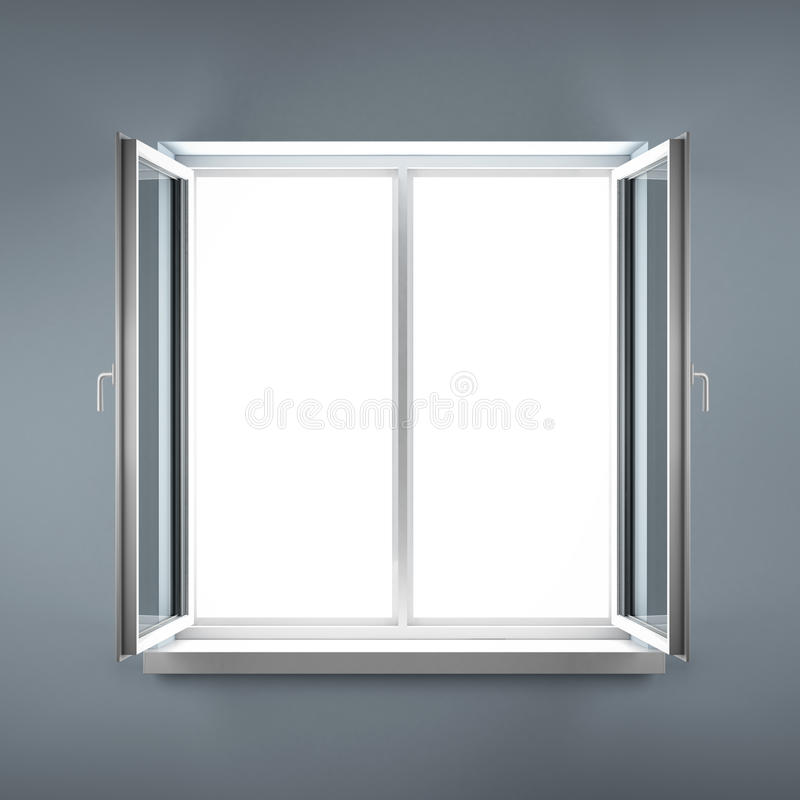 Öppnat plast- fönster. royaltyfria bilder
