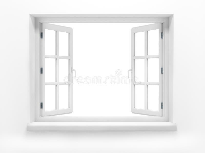 Öppnat plast- fönster. royaltyfri foto