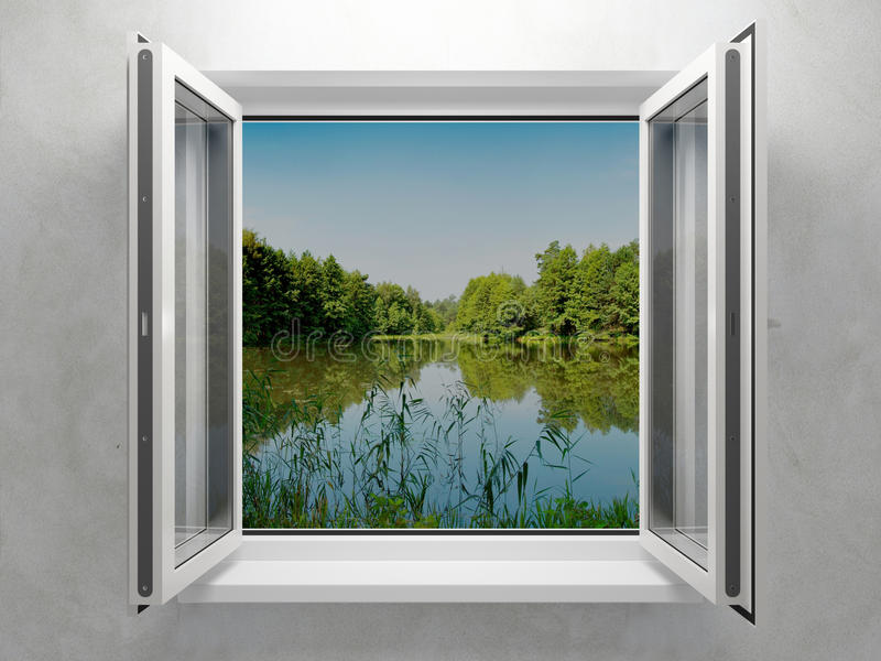 Öppnat plastic fönster arkivbild