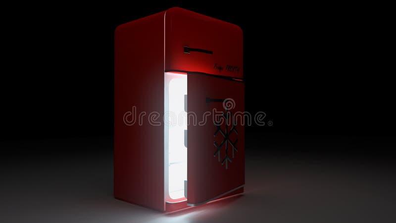 Öppnat Retro kylkylskåp i röd retro färg royaltyfri illustrationer
