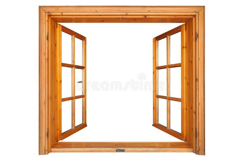 Öppnat träfönster arkivfoto