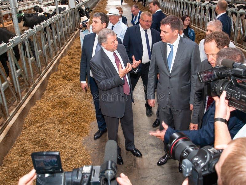 Öppning av boskapkomplexens Ulanovo 'i den Kaluga regionen av Ryssland arkivfoto