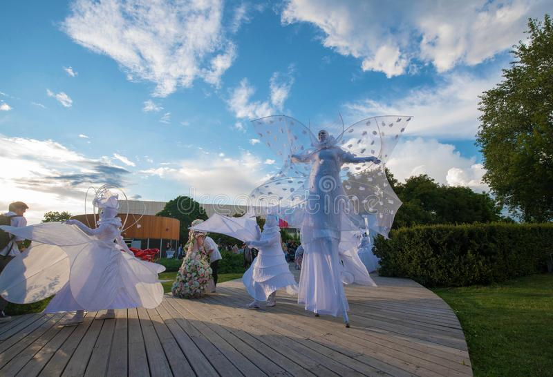 Öppning av Moskvablomsterutställningen 2019 - årlig festival för trädgård arkivfoto