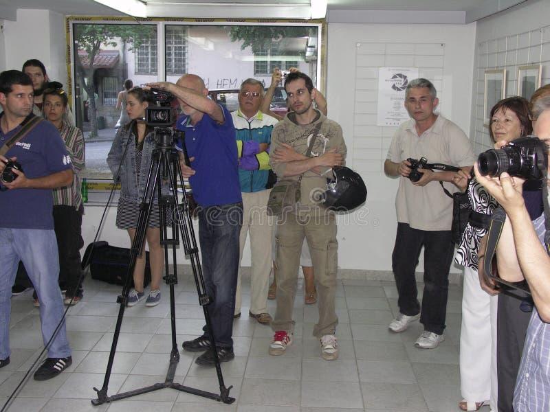 Öppning av utställningen av fotogrupp` f 5 6 `, royaltyfri foto