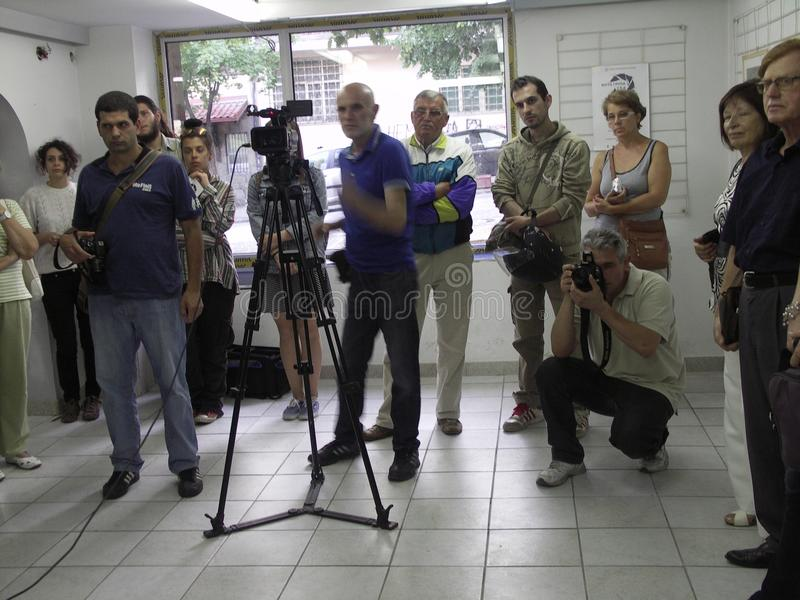 Öppning av utställningen av fotogrupp` f 5 6 `, arkivfoto