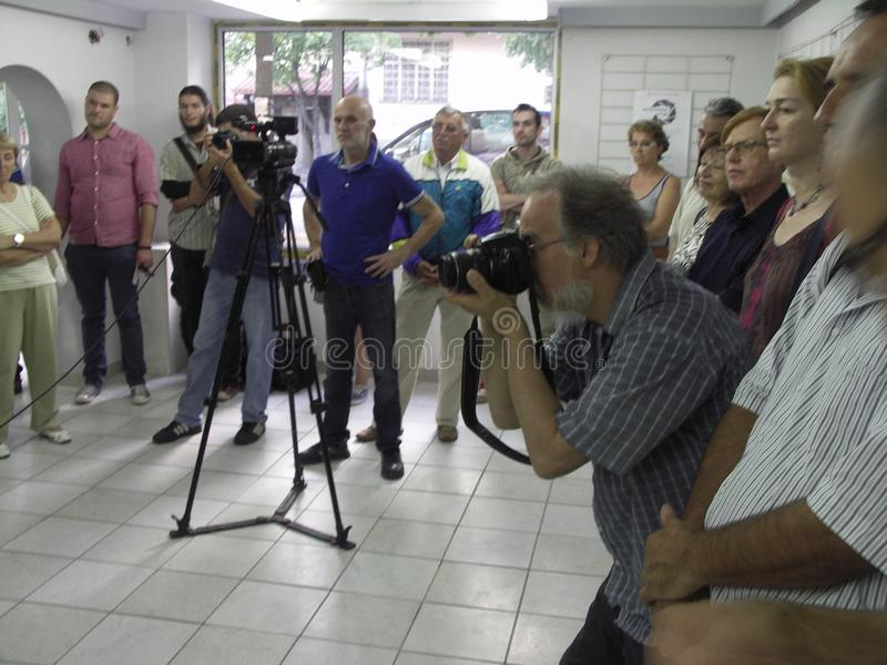Öppning av utställningen av fotogrupp` f 5 6 `, arkivbild