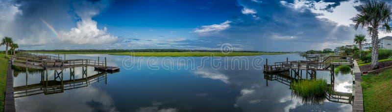 Öppning Marsh Panorama royaltyfria foton