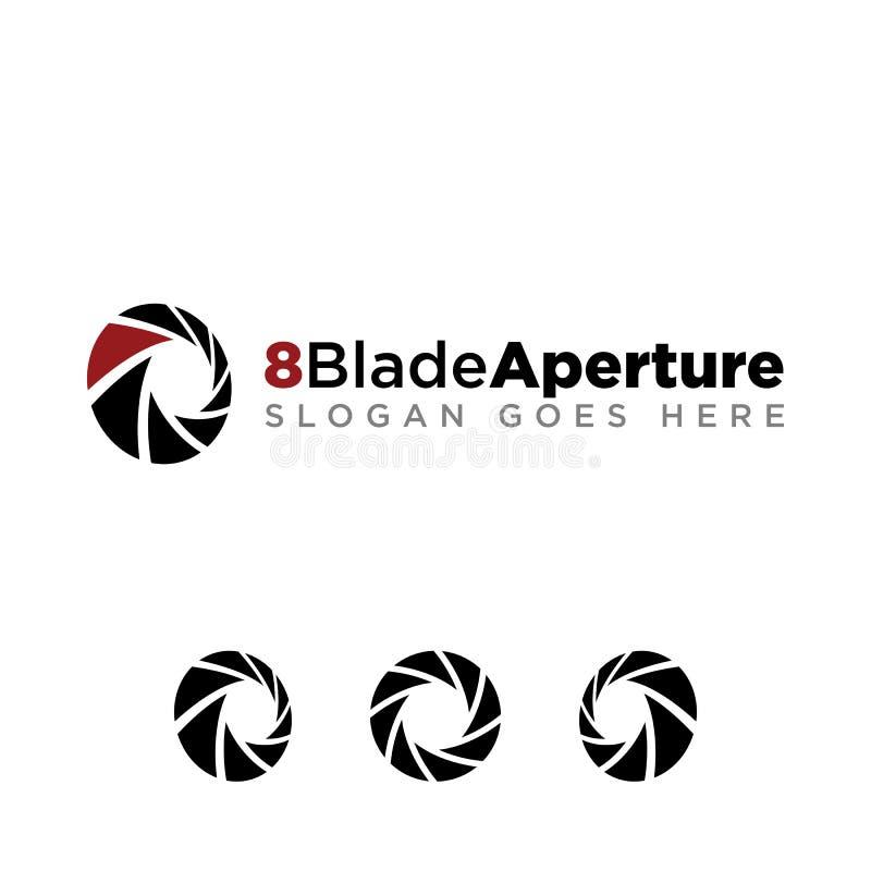Öppningsfotografi Logo Medium Opening för 8 blad vektor illustrationer