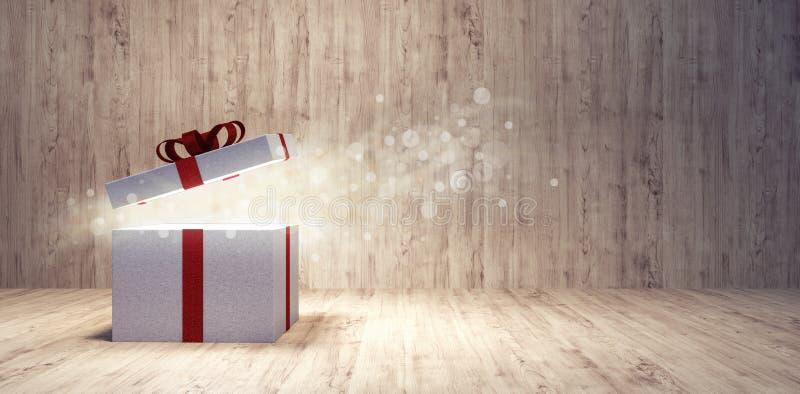 Öppningsjulklapp med sparkly magiskt ljus visas från inre arkivfoton