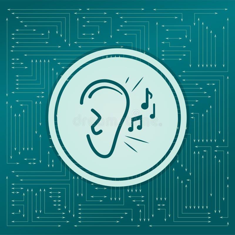 Örat lyssnar symbolen för ljudsignalen på en grön bakgrund, med pilar i olika riktningar Det visas på det elektroniska brädet royaltyfri illustrationer