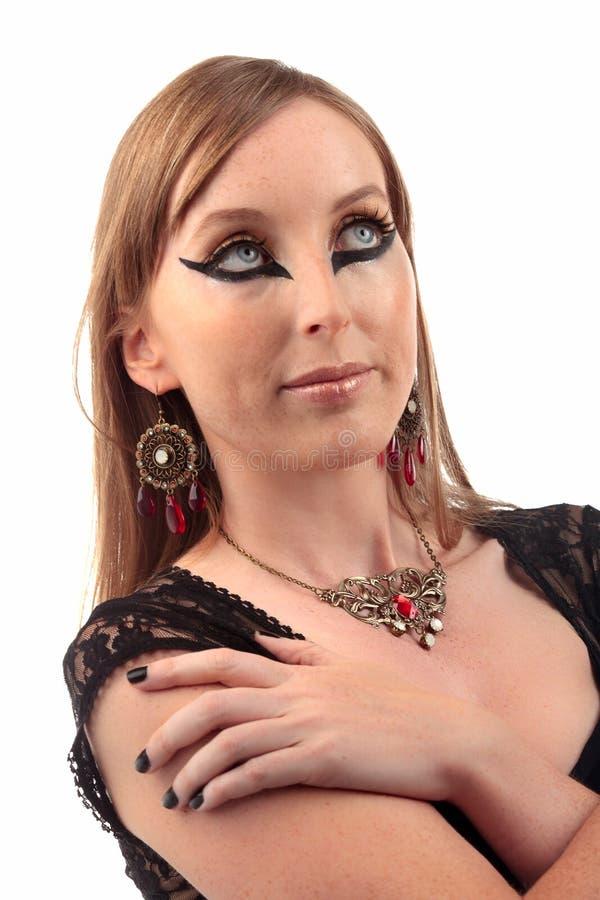 Örhänge för kvinnatappninghalsband royaltyfri foto