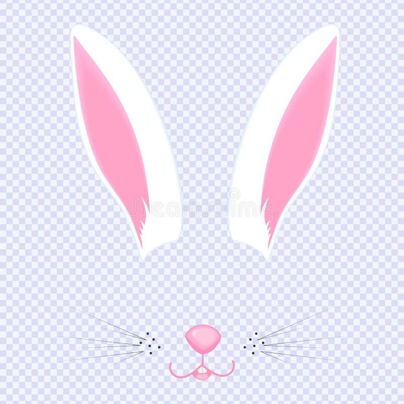Öron och näsa för påskkanin Maskering för karnevalet, selfie, foto, pratstund Framsidan av djuret Kaninfilter vektor illustrationer