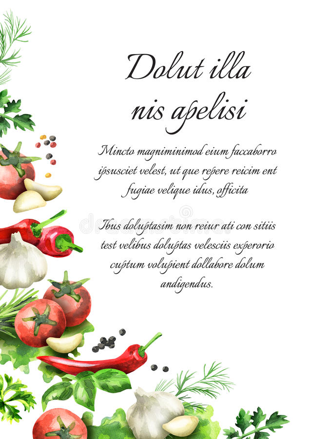 örtar för fjärdcardamonvitlök blad vanilj för kryddor för pepparrosmarinar salt mörk paper vattenfärgyellow för forntida bakgrund stock illustrationer