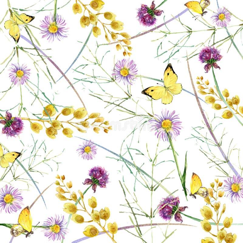 Örter och blommor med fjärilsbakgrund för flygillustration för näbb dekorativ bild dess paper stycksvalavattenfärg stock illustrationer