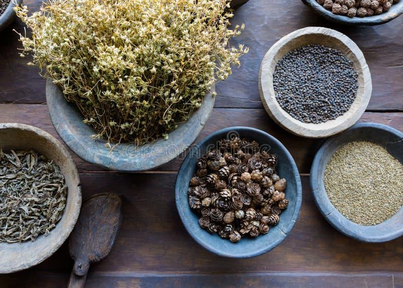 Örter och kryddor i bunkar royaltyfria foton