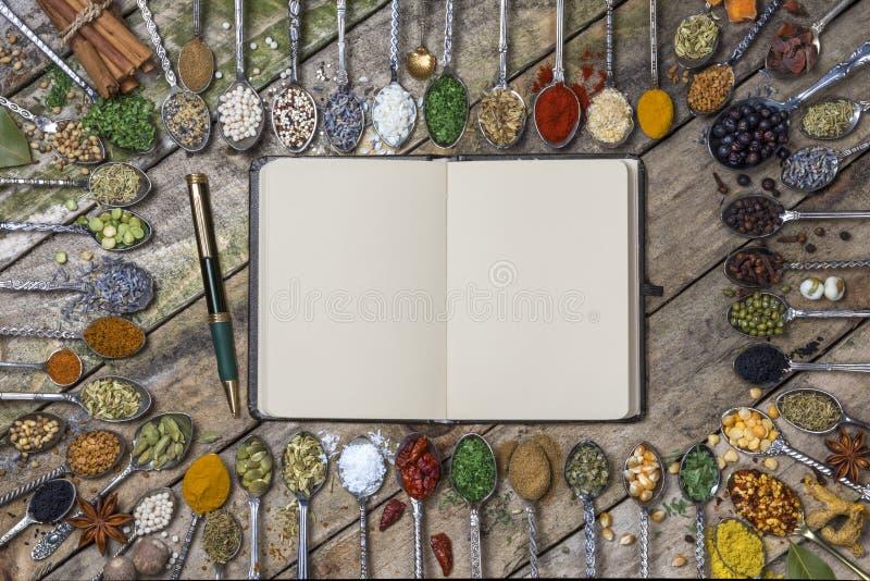 Örter och kryddor - med utrymme för text arkivbild