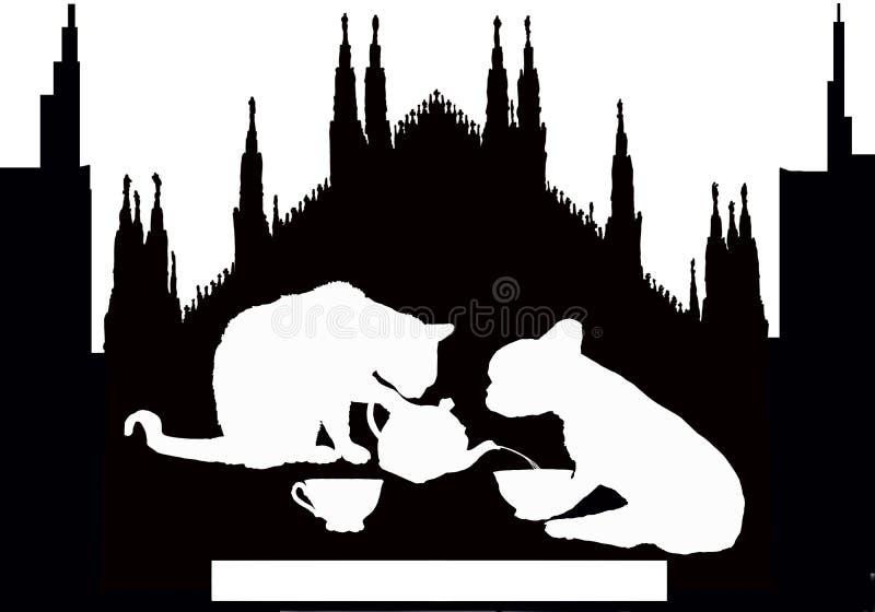 Örttar i milan med katten och hunden arkivbilder