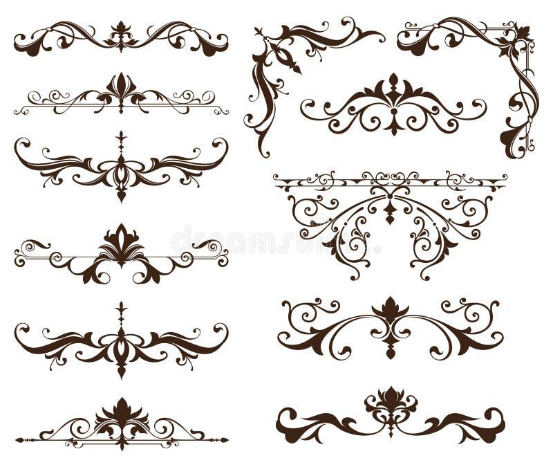 Österlänningen smyckar dekorativa beståndsdelar för gränser med hörnkrullning arab och den indiermodeller och ramen stock illustrationer