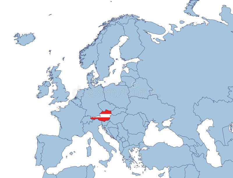 Österreich auf Europa-Karte stock abbildung