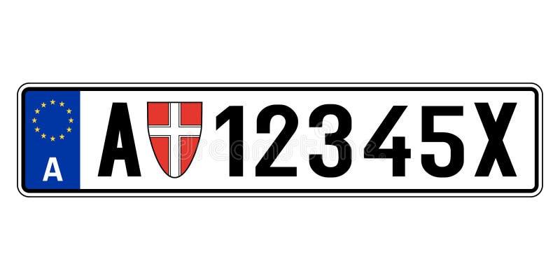 Österreich-Autoplatte Polizeiliches Kennzeichen vektor abbildung