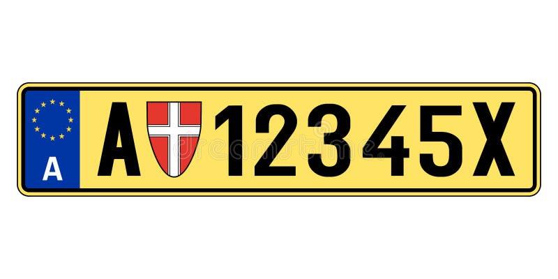 Österreich-Autoplatte Polizeiliches Kennzeichen stock abbildung