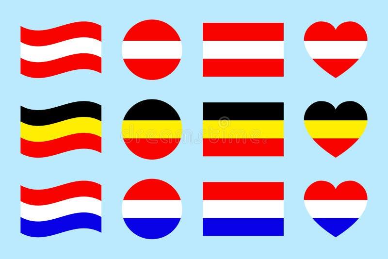 Österreich, Deutschland, der niederländische Flaggenvektorsatz Ebene lokalisierte Ikonen Österreichisch, deutsch, kennzeichnet Go vektor abbildung