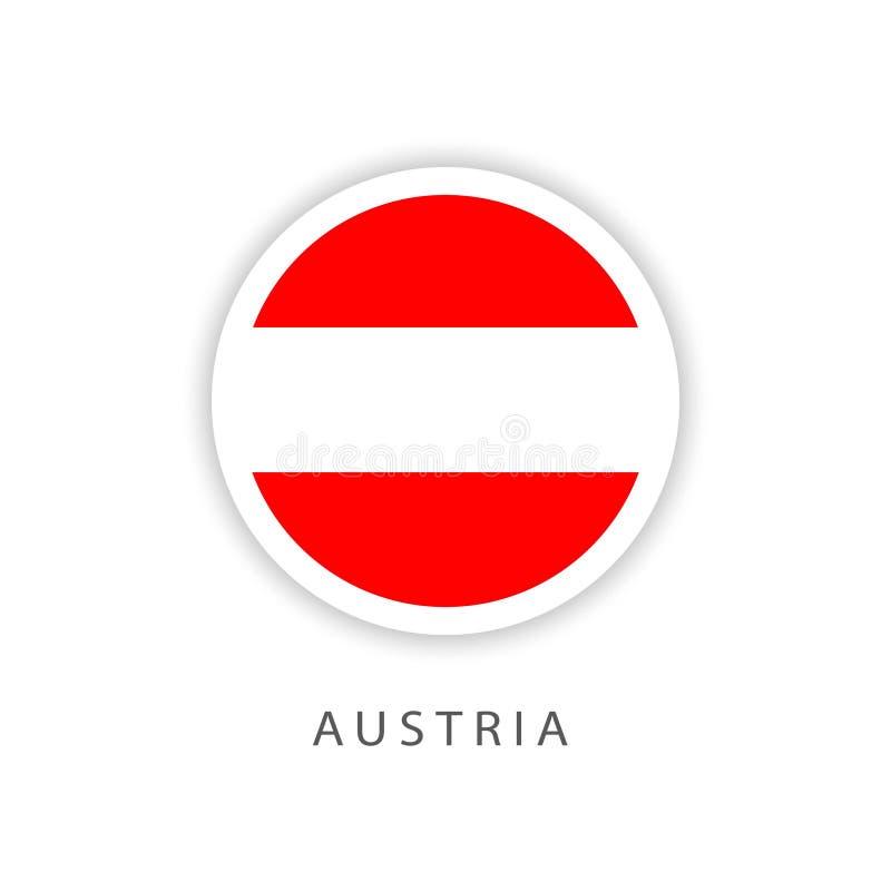 Österreich-Knopf-Flaggen-Vektor-Schablonen-Entwurfs-Illustrator stock abbildung