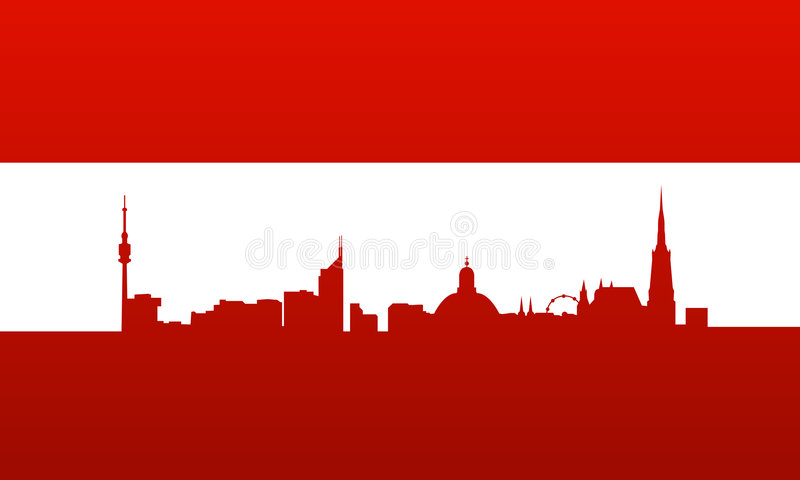 Österreich-Markierungsfahne mit Wien-Schattenbild vektor abbildung
