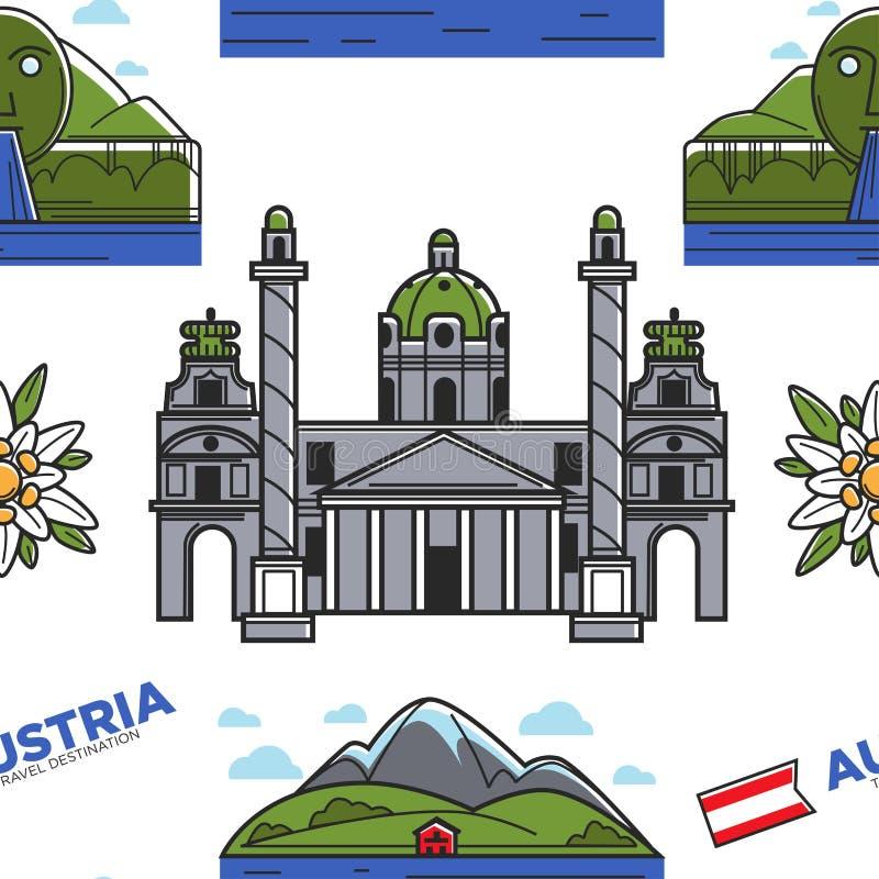 Österreich-Natur und nahtloses Muster Karlskirche der Architektur und Swarovski-Brunnen lizenzfreie abbildung
