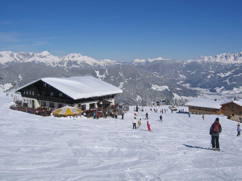 Österreich-/Skihütte lizenzfreie stockbilder