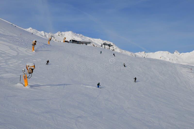 Österreich: Wintersport in den Sölden-Schneebergen am gaislachkogl lizenzfreie stockbilder