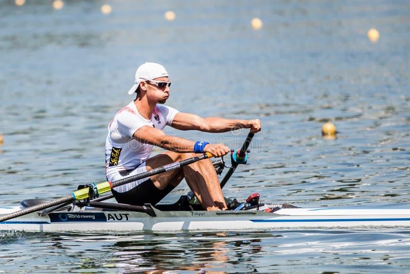 Österreichischer Athlet auf einem Weltrudersport-Cup-Wettbewerbsrudersport stockbild