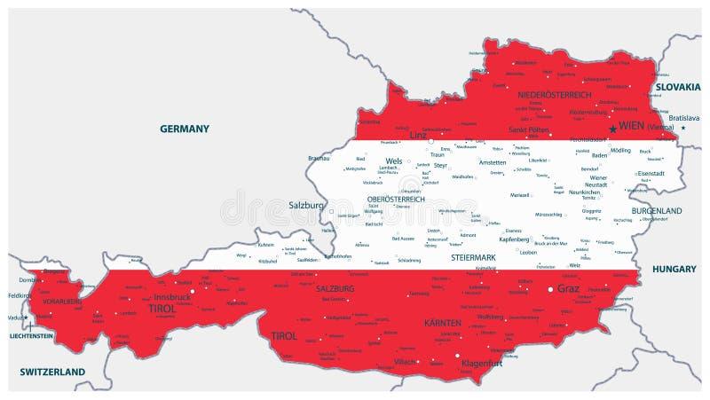 Österrike översikt som färgas av nationsflaggan vektor illustrationer